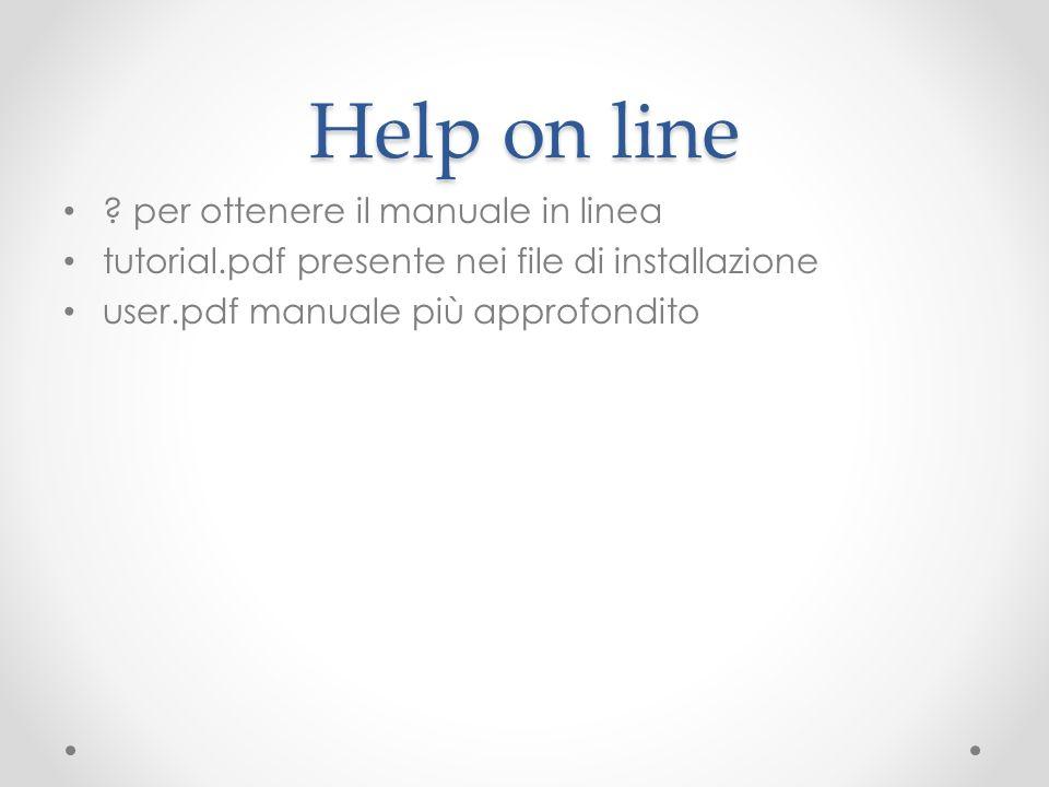 Help on line per ottenere il manuale in linea