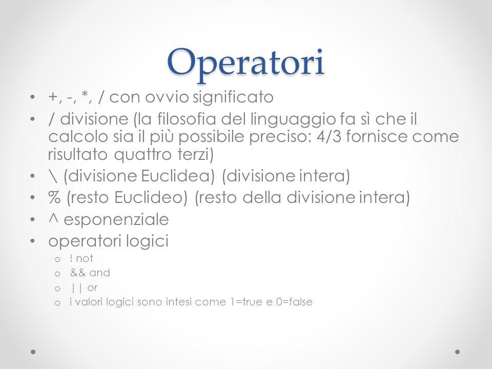 Operatori +, -, *, / con ovvio significato