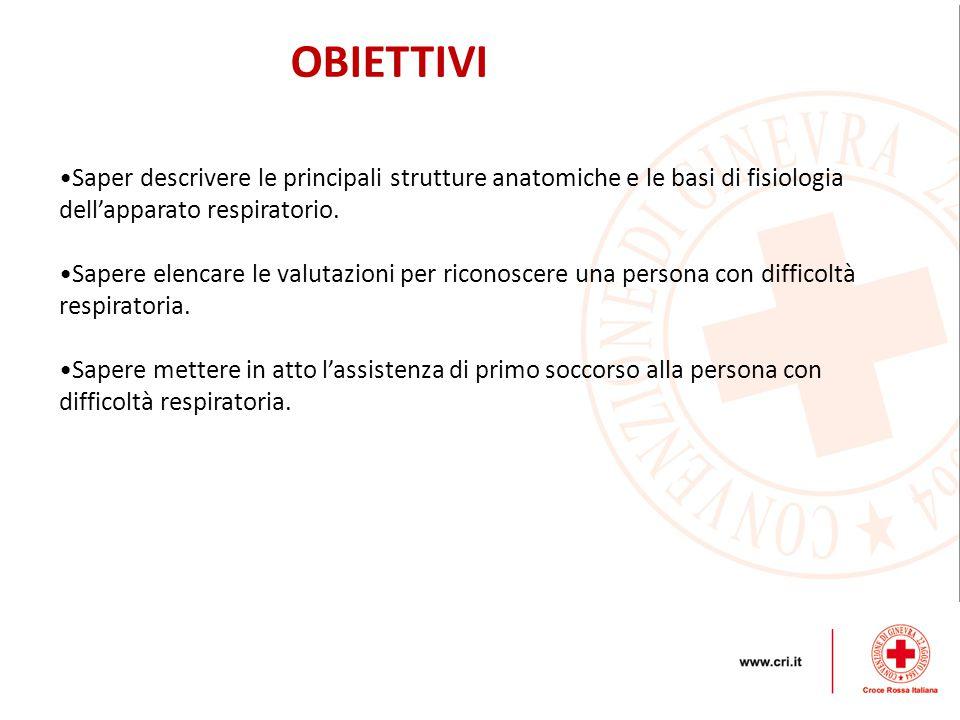 OBIETTIVI Saper descrivere le principali strutture anatomiche e le basi di fisiologia dell'apparato respiratorio.