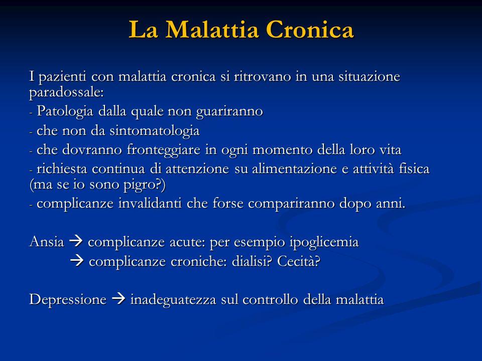 La Malattia Cronica I pazienti con malattia cronica si ritrovano in una situazione paradossale: Patologia dalla quale non guariranno.