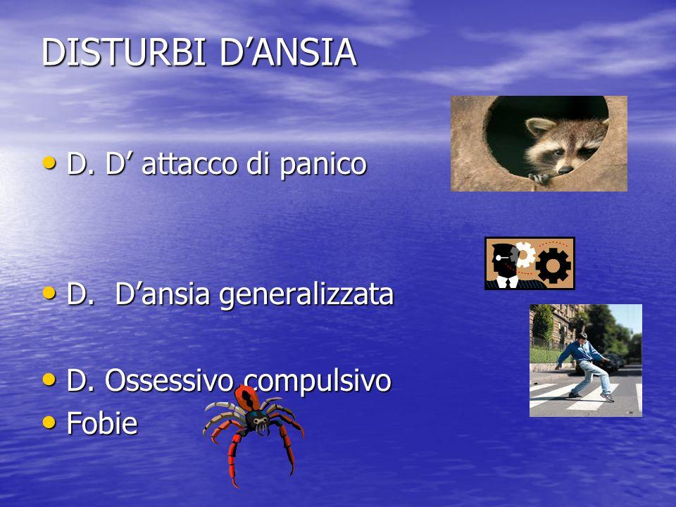 DISTURBI D'ANSIA D. D' attacco di panico D. D'ansia generalizzata
