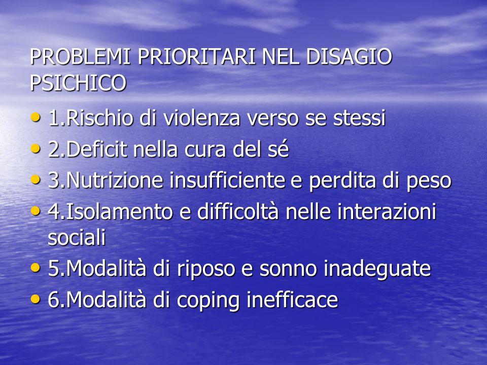 PROBLEMI PRIORITARI NEL DISAGIO PSICHICO
