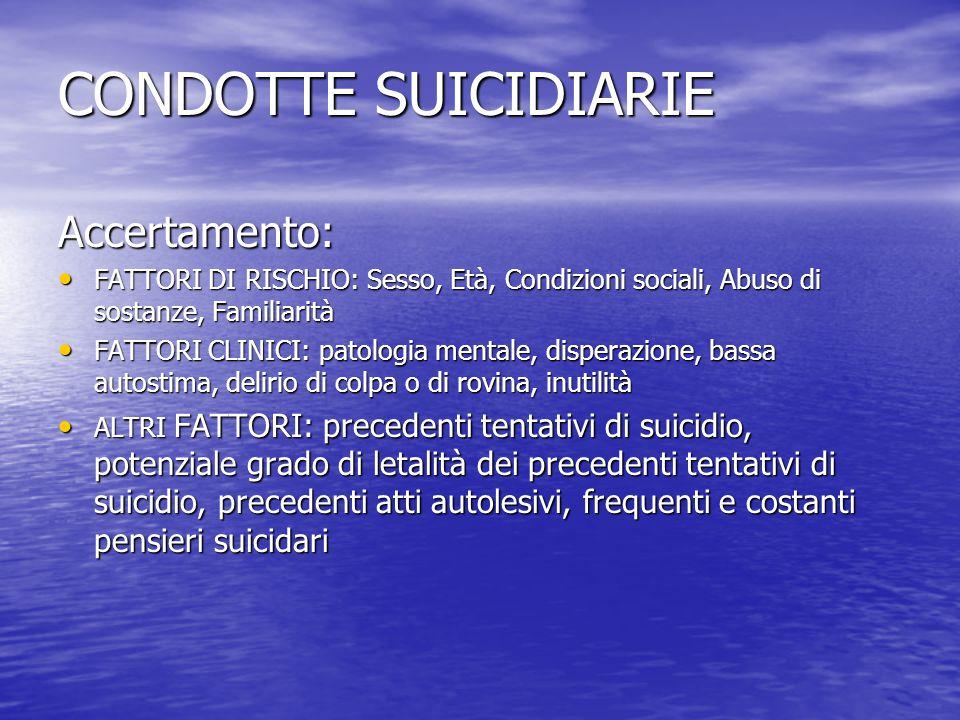 CONDOTTE SUICIDIARIE Accertamento: