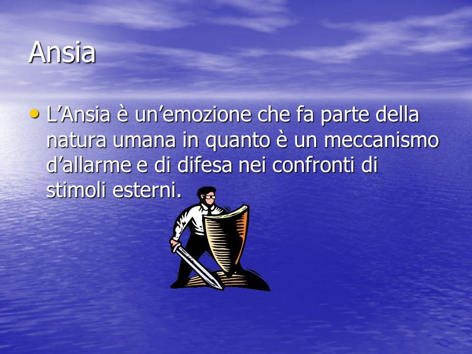 Ansia L'Ansia è un'emozione che fa parte della natura umana in quanto è un meccanismo d'allarme e di difesa nei confronti di stimoli esterni.