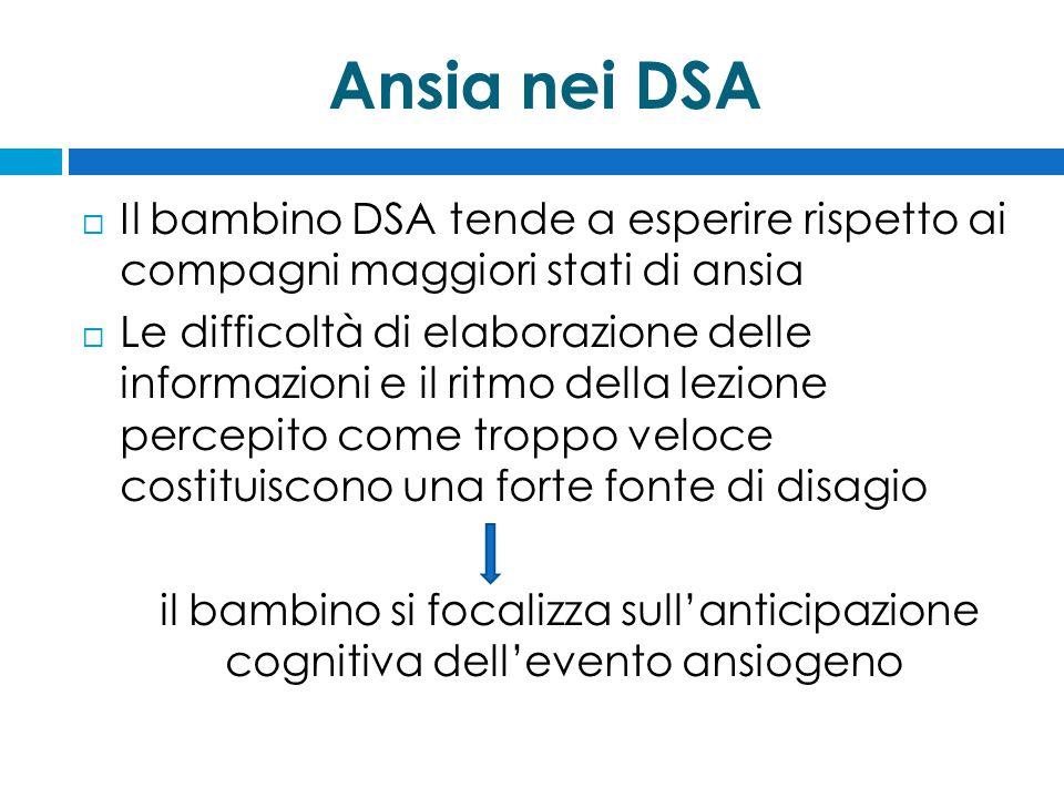 Ansia nei DSA Il bambino DSA tende a esperire rispetto ai compagni maggiori stati di ansia.