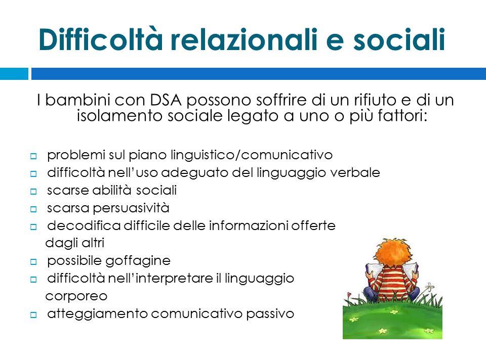 Difficoltà relazionali e sociali
