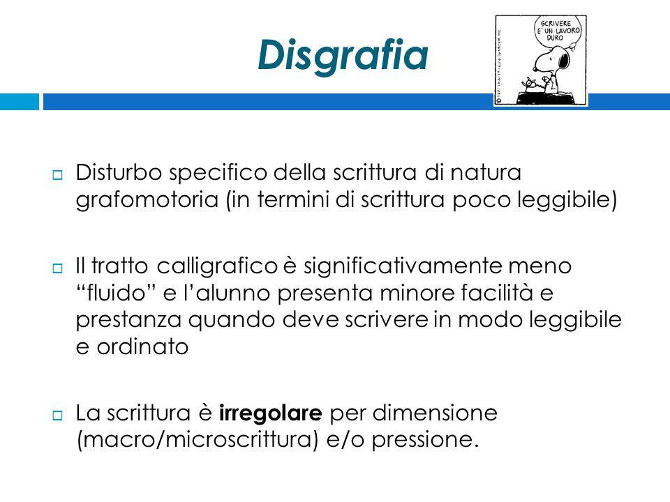 Disgrafia Disturbo specifico della scrittura di natura grafomotoria (in termini di scrittura poco leggibile)