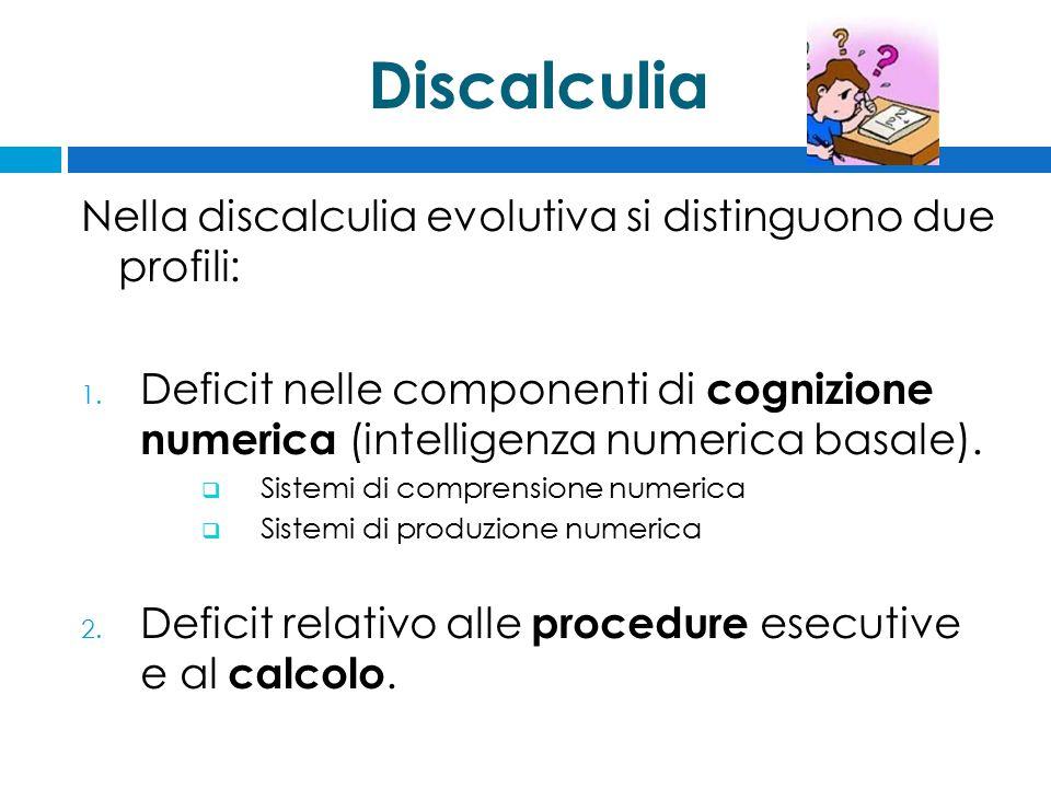 Discalculia Nella discalculia evolutiva si distinguono due profili: