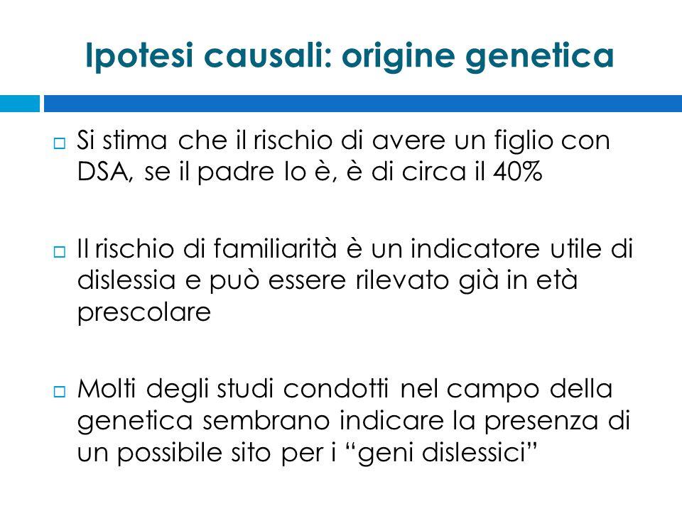 Ipotesi causali: origine genetica