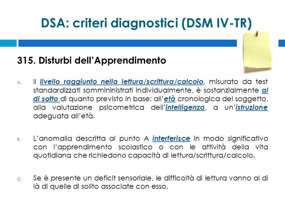 DSA: criteri diagnostici (DSM IV-TR)
