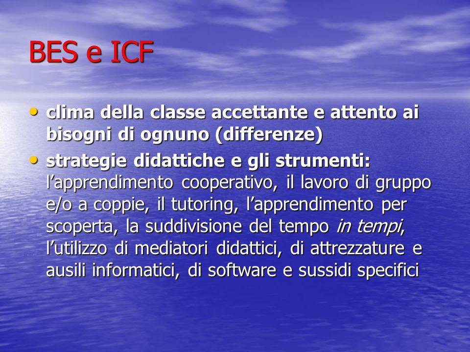 BES e ICF clima della classe accettante e attento ai bisogni di ognuno (differenze)