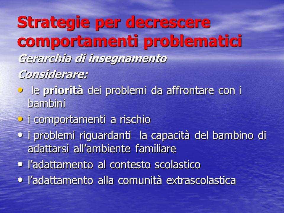 Strategie per decrescere comportamenti problematici