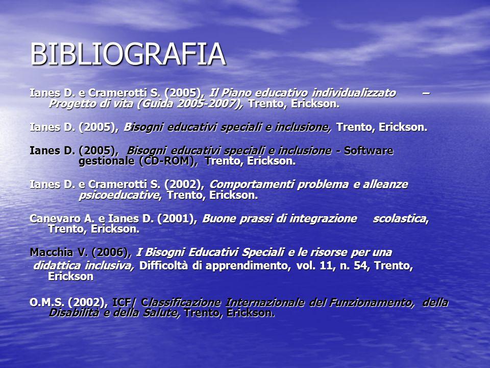 BIBLIOGRAFIA Ianes D. e Cramerotti S. (2005), Il Piano educativo individualizzato – Progetto di vita (Guida 2005-2007), Trento, Erickson.