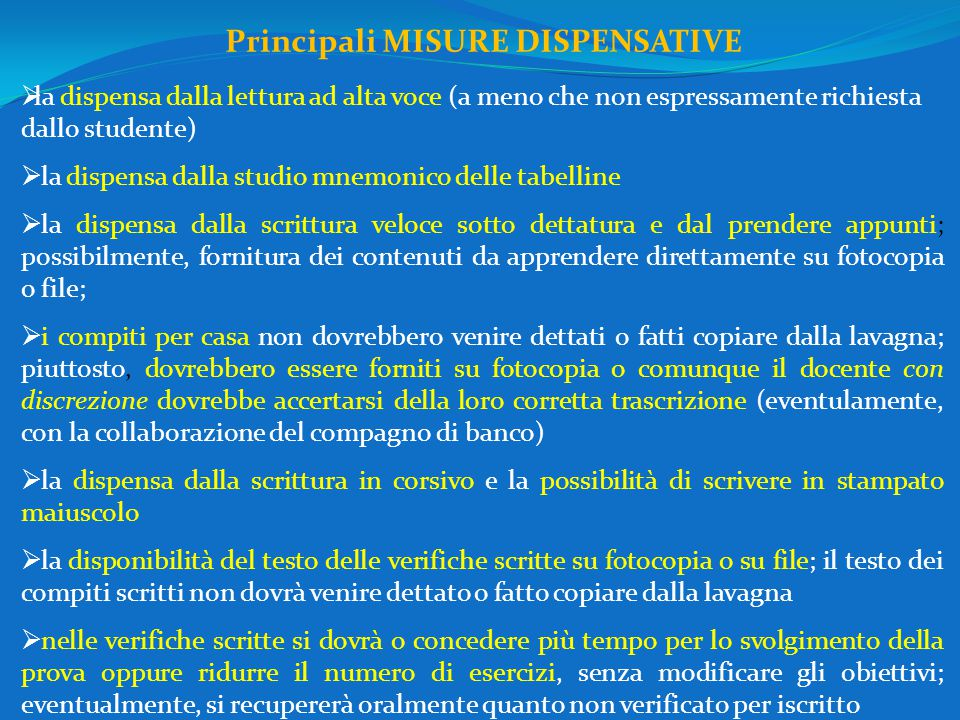 Principali MISURE DISPENSATIVE