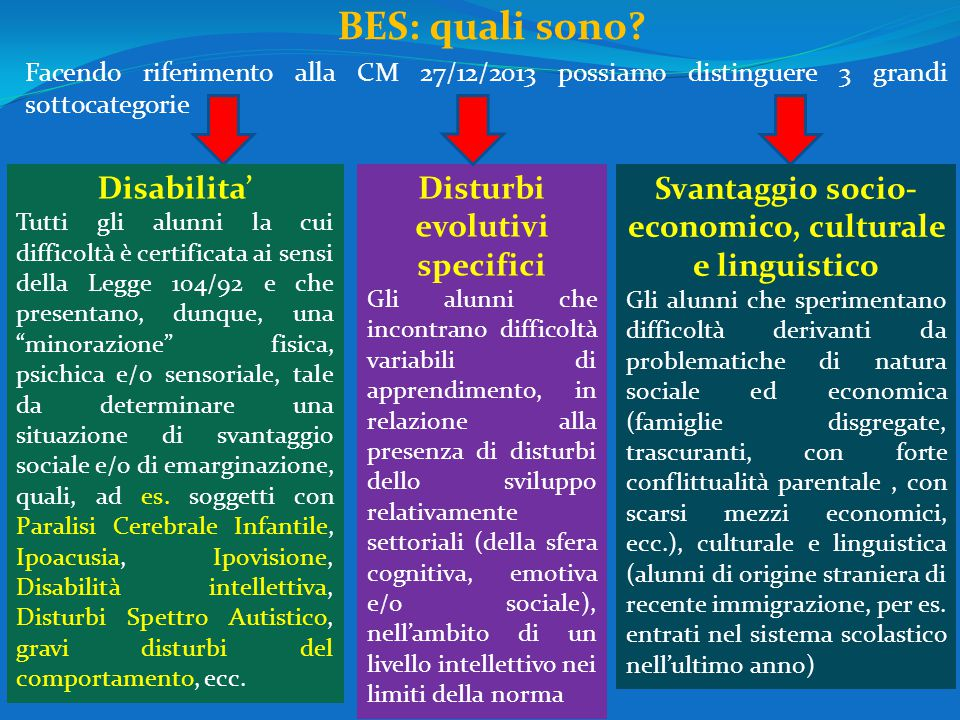 BES: quali sono Disabilita' Disturbi evolutivi specifici