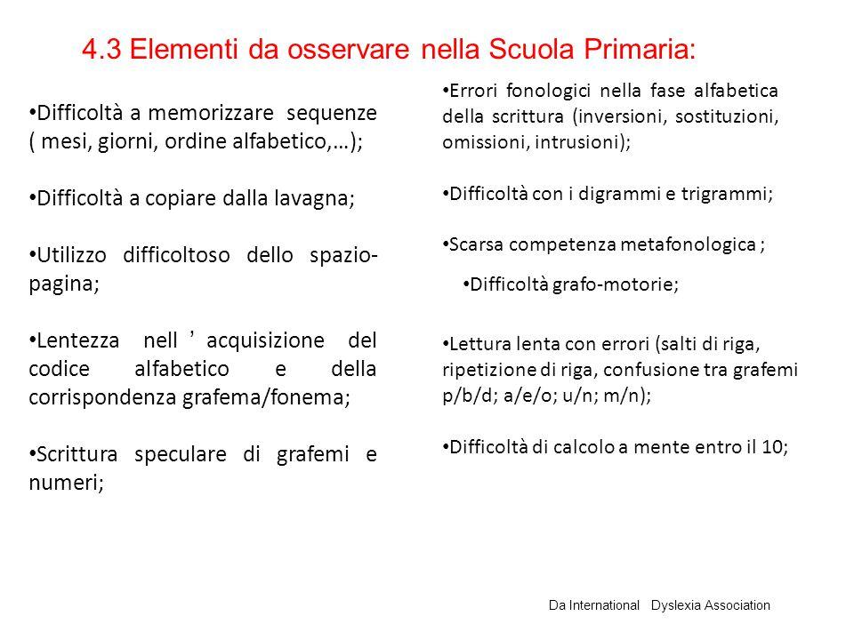 4.3 Elementi da osservare nella Scuola Primaria: