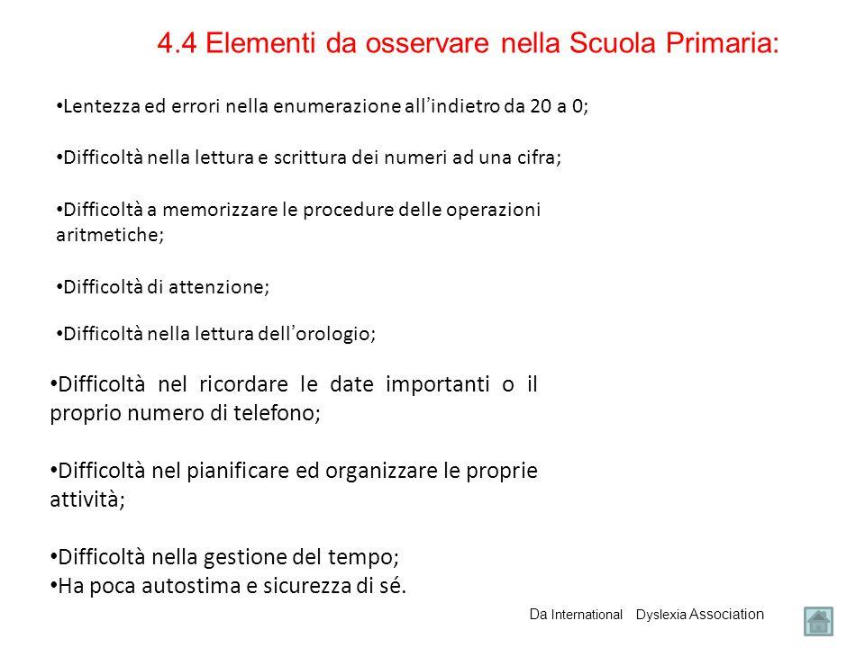 4.4 Elementi da osservare nella Scuola Primaria: