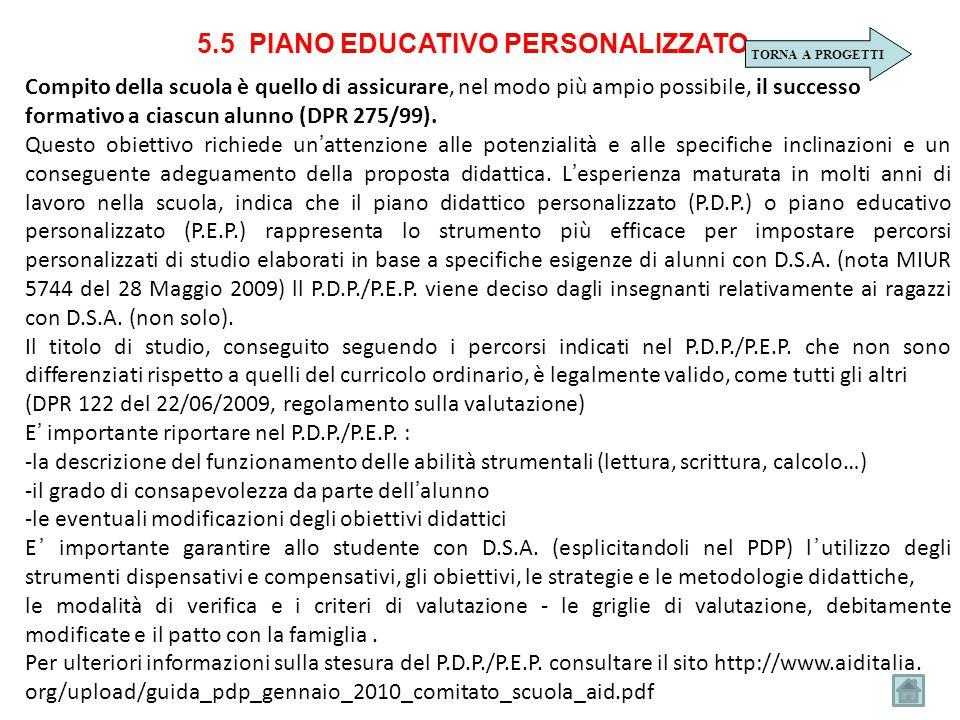 5.5 PIANO EDUCATIVO PERSONALIZZATO