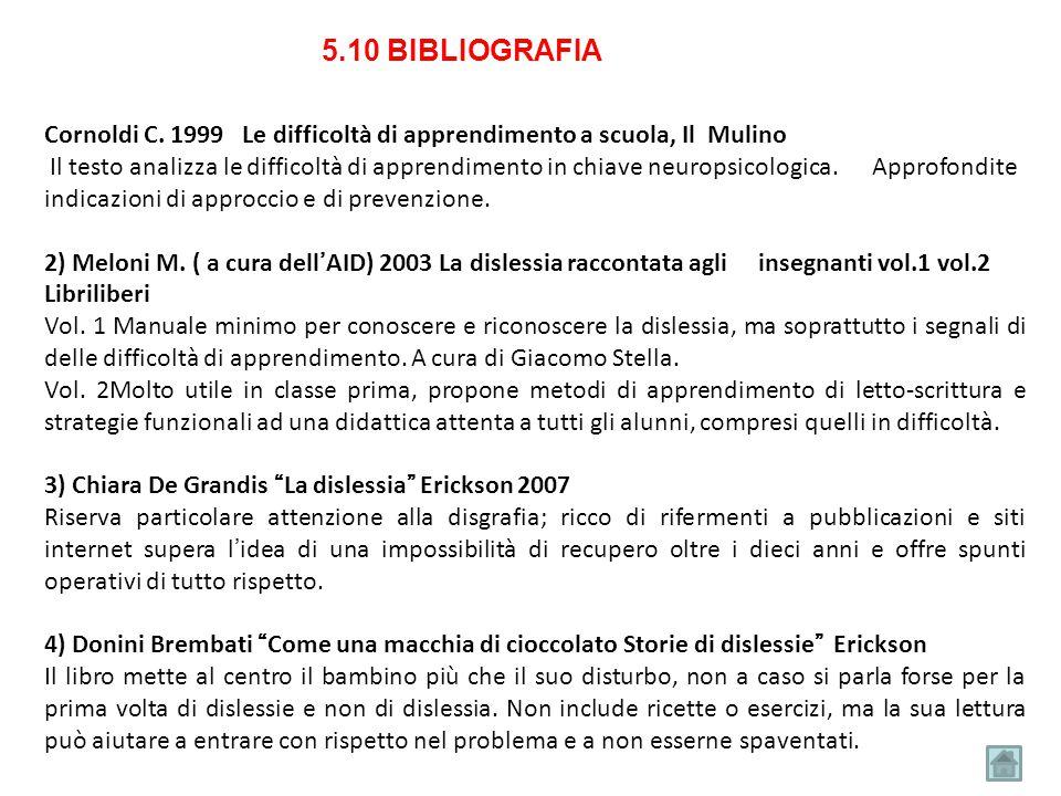 5.10 BIBLIOGRAFIA Cornoldi C. 1999 Le difficoltà di apprendimento a scuola, Il Mulino.