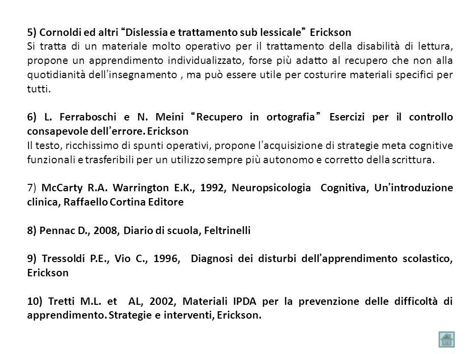 5) Cornoldi ed altri Dislessia e trattamento sub lessicale Erickson