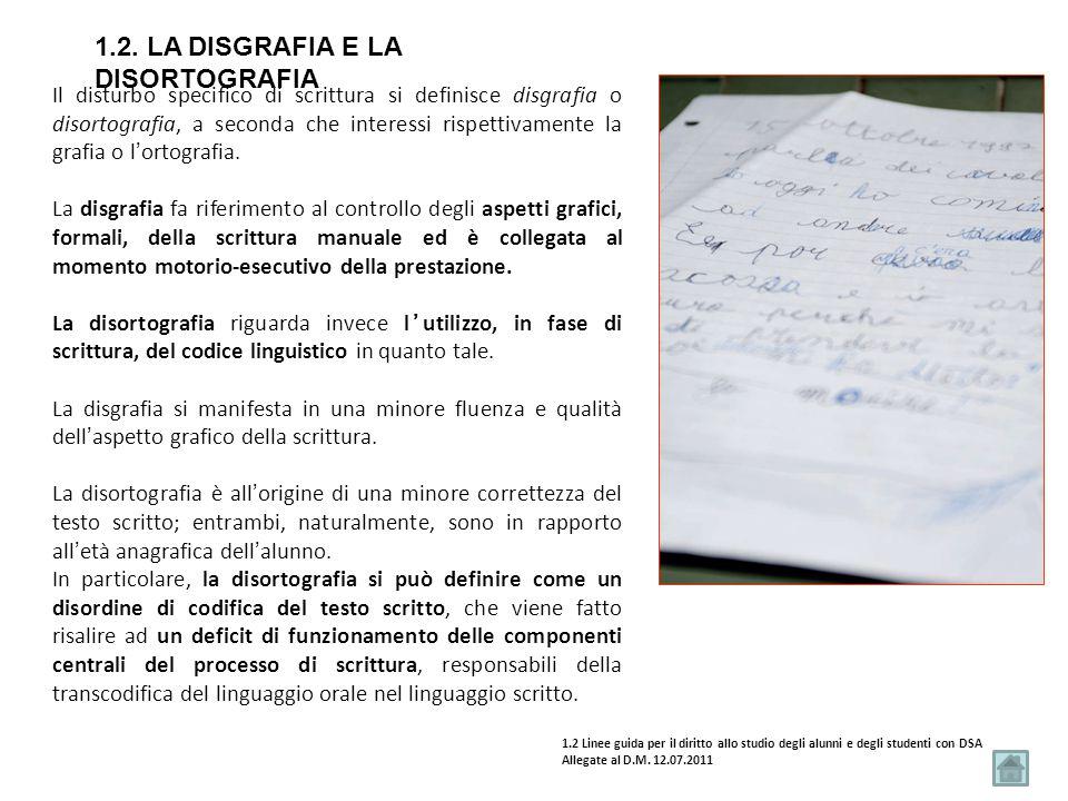 1.2. La disgrafia e la disortografia