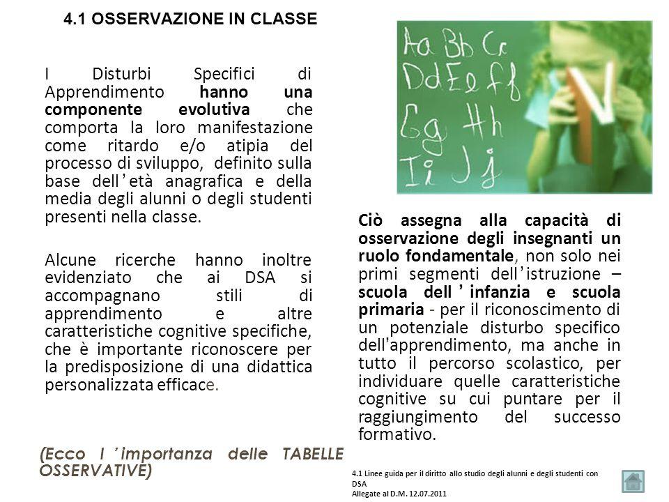 4.1 OSSERVAZIONE IN CLASSE
