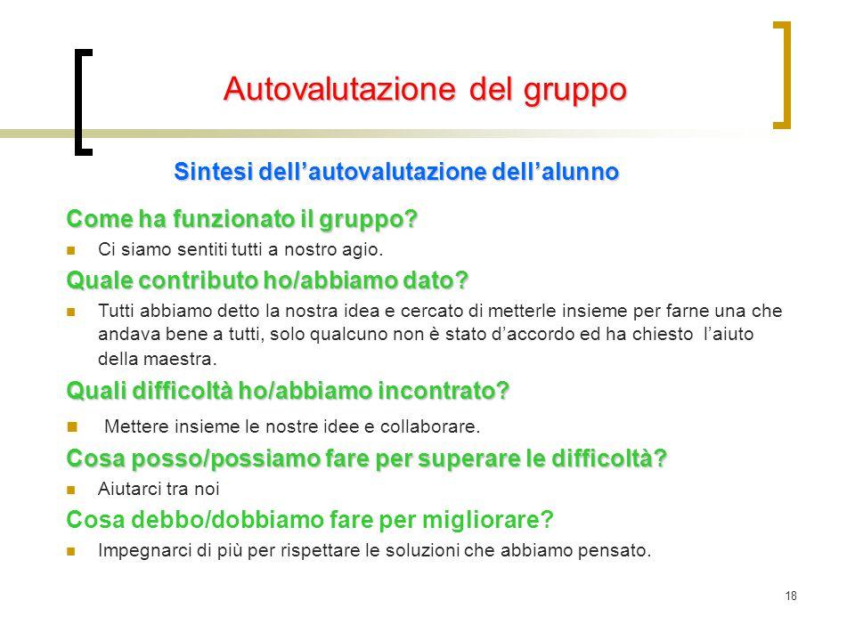 Autovalutazione del gruppo