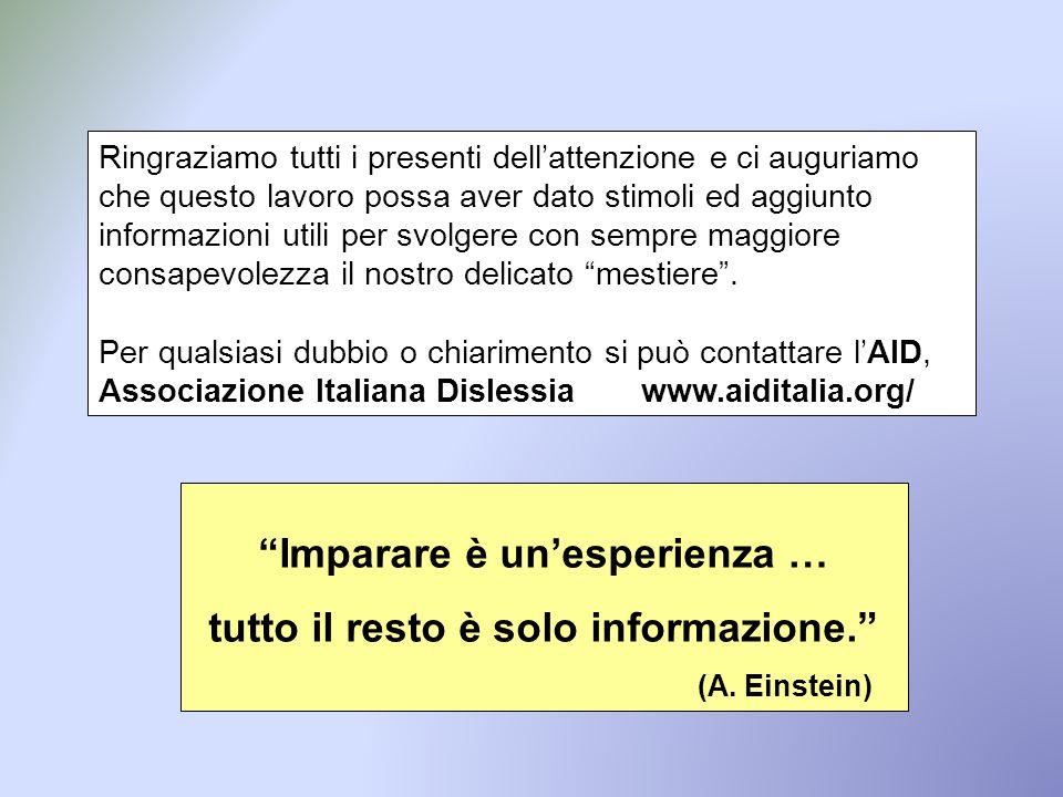 Imparare è un'esperienza … tutto il resto è solo informazione.