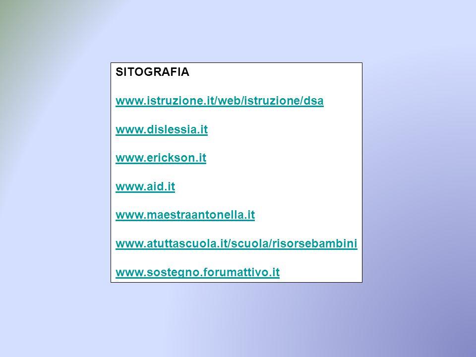 SITOGRAFIA www.istruzione.it/web/istruzione/dsa. www.dislessia.it. www.erickson.it. www.aid.it. www.maestraantonella.it.