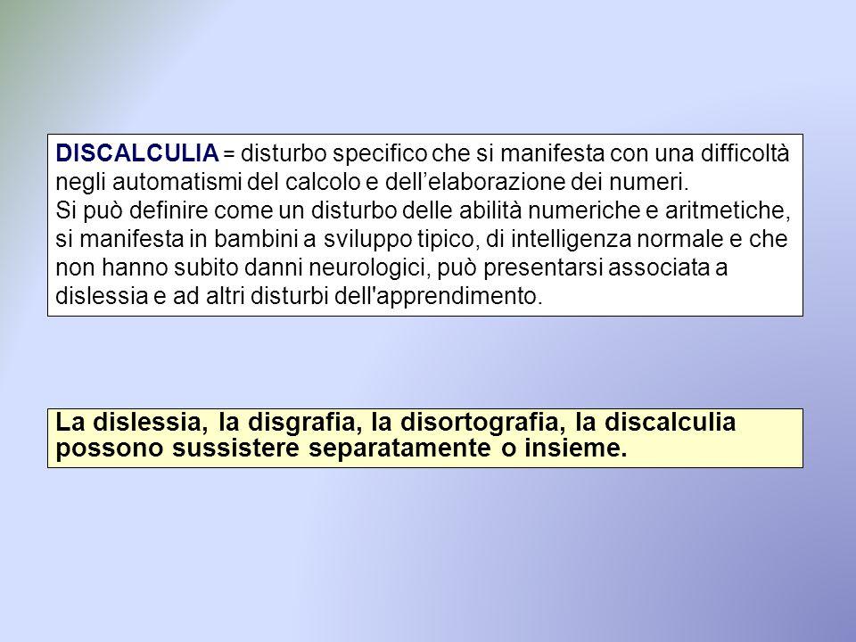 DISCALCULIA = disturbo specifico che si manifesta con una difficoltà negli automatismi del calcolo e dell'elaborazione dei numeri.