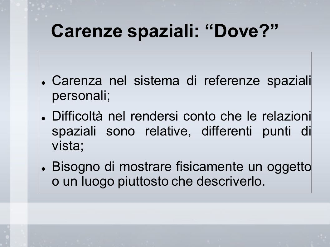 Carenze spaziali: Dove
