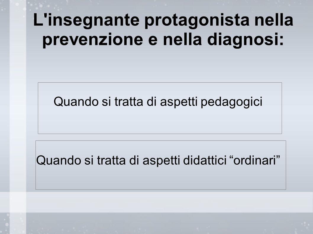 L insegnante protagonista nella prevenzione e nella diagnosi: