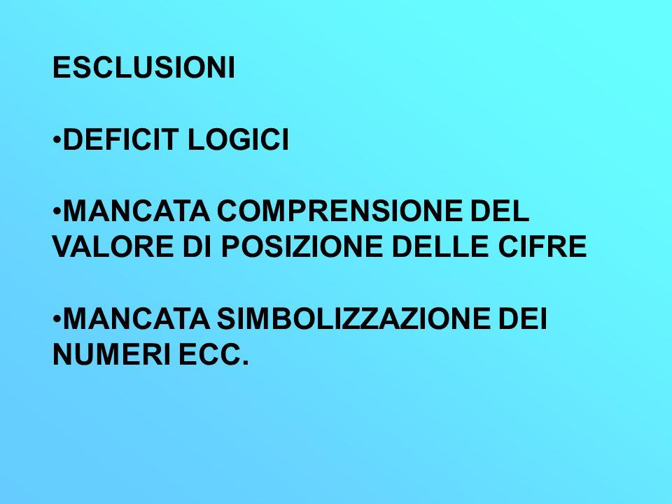 ESCLUSIONI DEFICIT LOGICI. MANCATA COMPRENSIONE DEL VALORE DI POSIZIONE DELLE CIFRE.