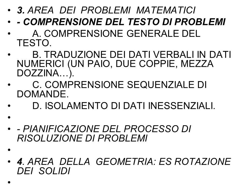 3. AREA DEI PROBLEMI MATEMATICI