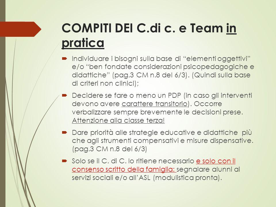 COMPITI DEI C.di c. e Team in pratica