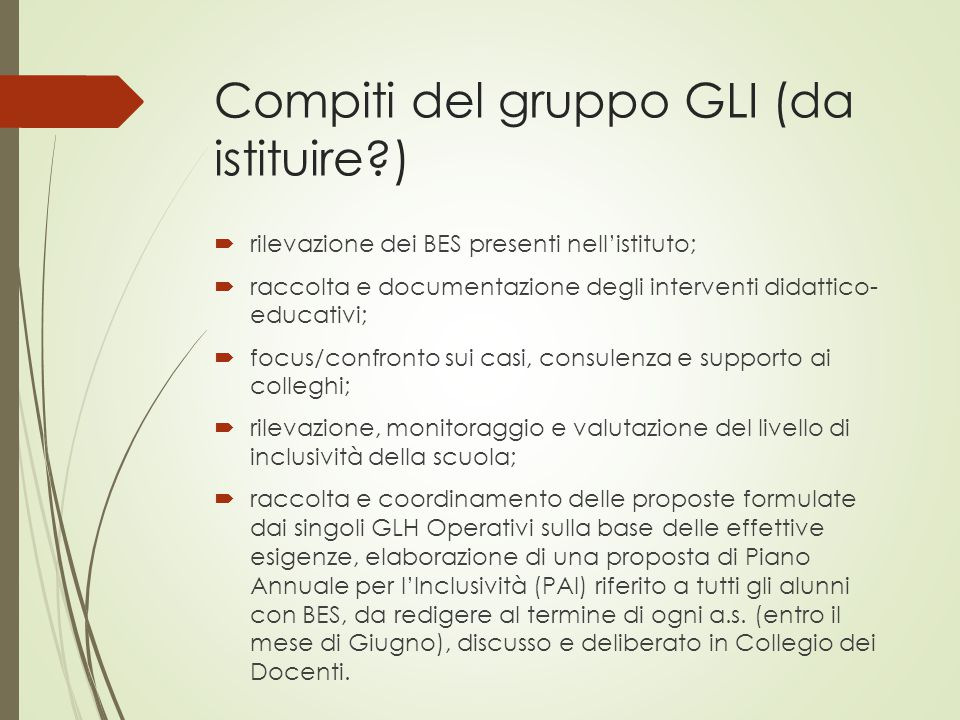 Compiti del gruppo GLI (da istituire )