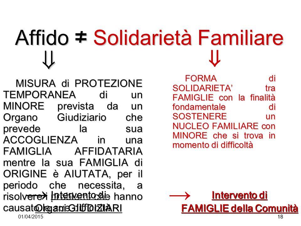 Affido ≠ Solidarietà Familiare