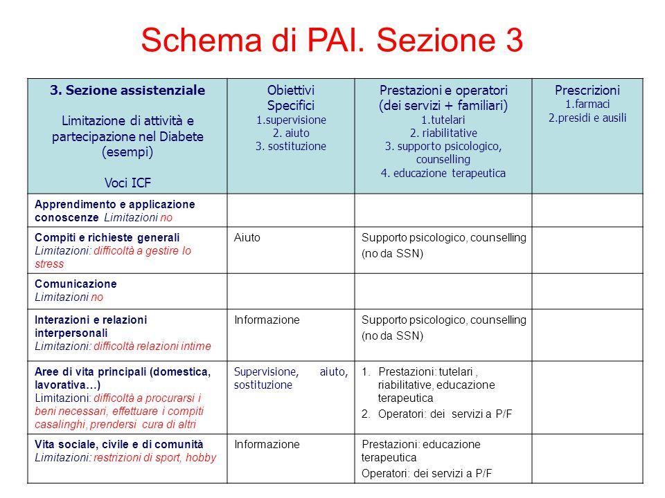 3. Sezione assistenziale