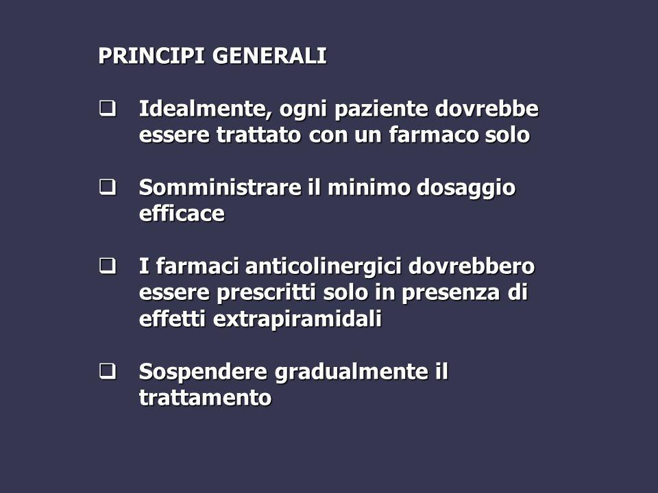 PRINCIPI GENERALI Idealmente, ogni paziente dovrebbe essere trattato con un farmaco solo. Somministrare il minimo dosaggio efficace.