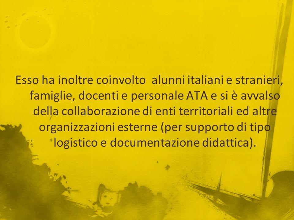 Esso ha inoltre coinvolto alunni italiani e stranieri, famiglie, docenti e personale ATA e si è avvalso della collaborazione di enti territoriali ed altre organizzazioni esterne (per supporto di tipo logistico e documentazione didattica).