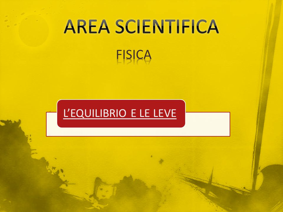 AREA SCIENTIFICA FISICA L'EQUILIBRIO E LE LEVE