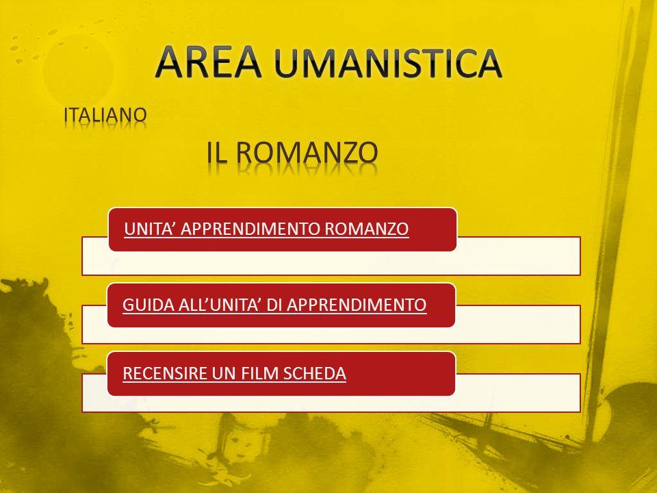 AREA UMANISTICA IL ROMANZO ITALIANO UNITA' APPRENDIMENTO ROMANZO