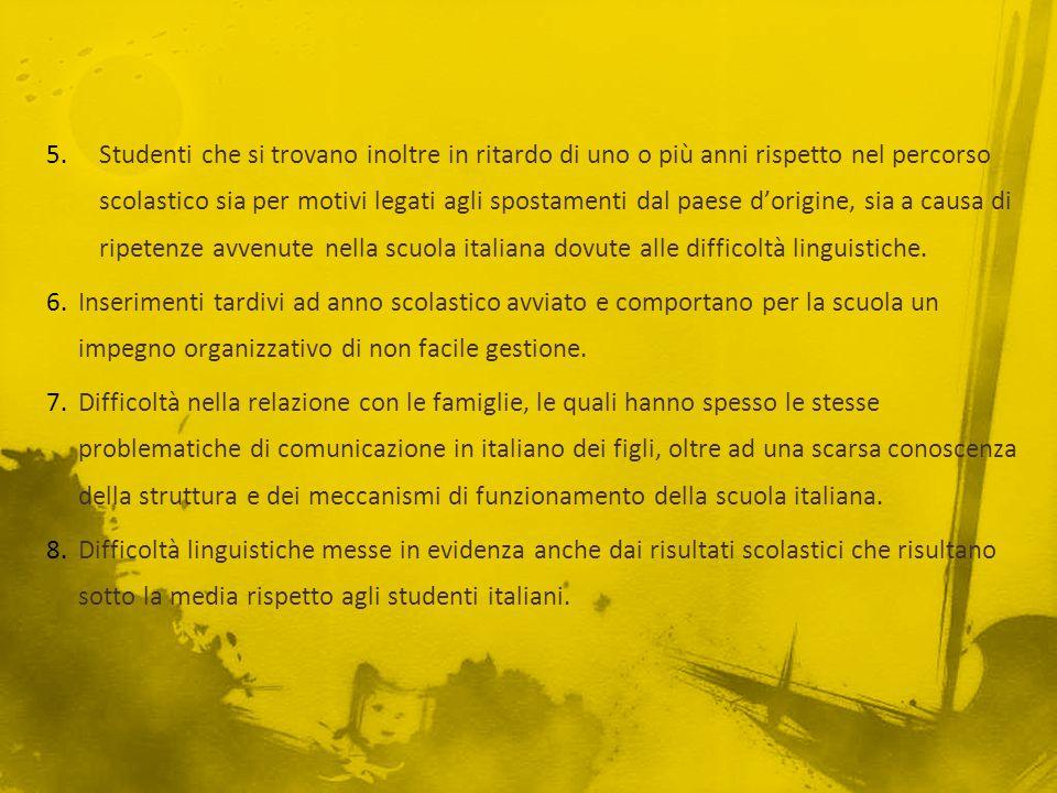 Studenti che si trovano inoltre in ritardo di uno o più anni rispetto nel percorso scolastico sia per motivi legati agli spostamenti dal paese d'origine, sia a causa di ripetenze avvenute nella scuola italiana dovute alle difficoltà linguistiche.