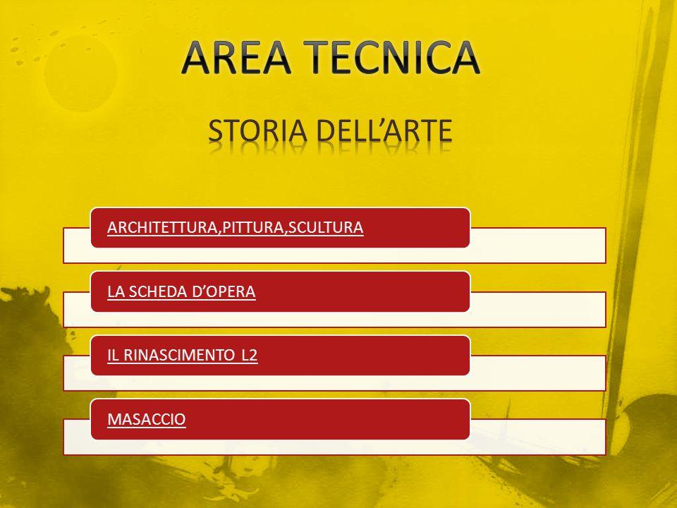 AREA TECNICA STORIA DELL'ARTE ARCHITETTURA,PITTURA,SCULTURA