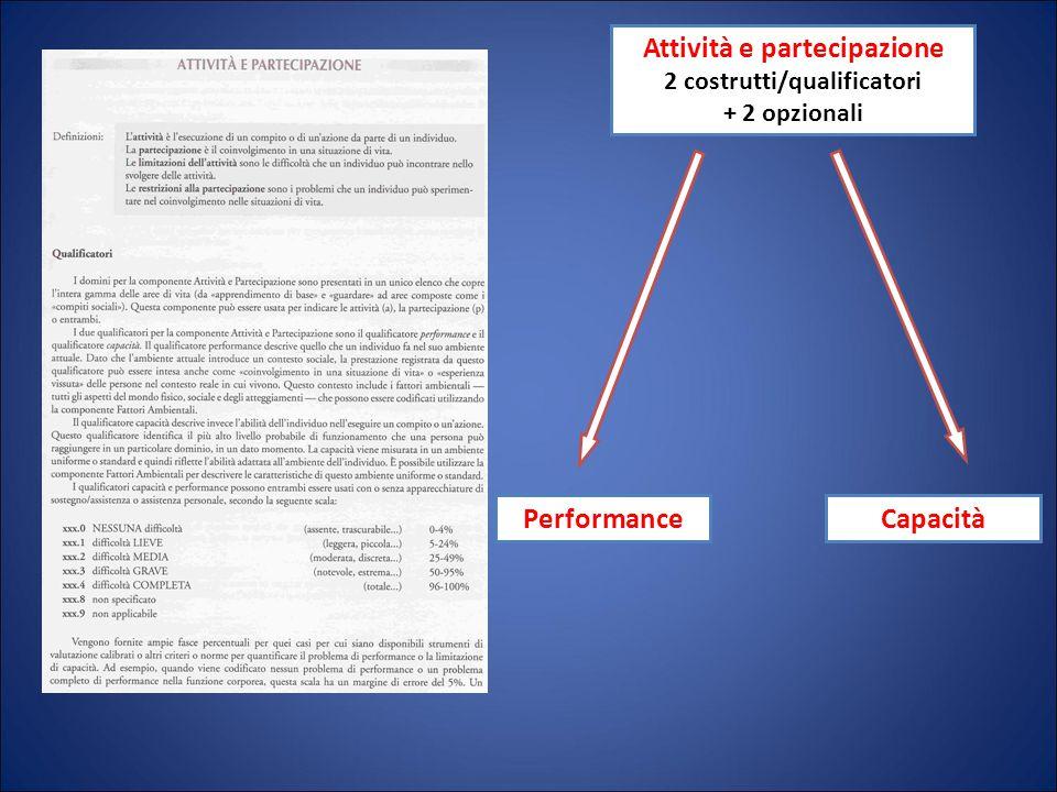 Attività e partecipazione 2 costrutti/qualificatori