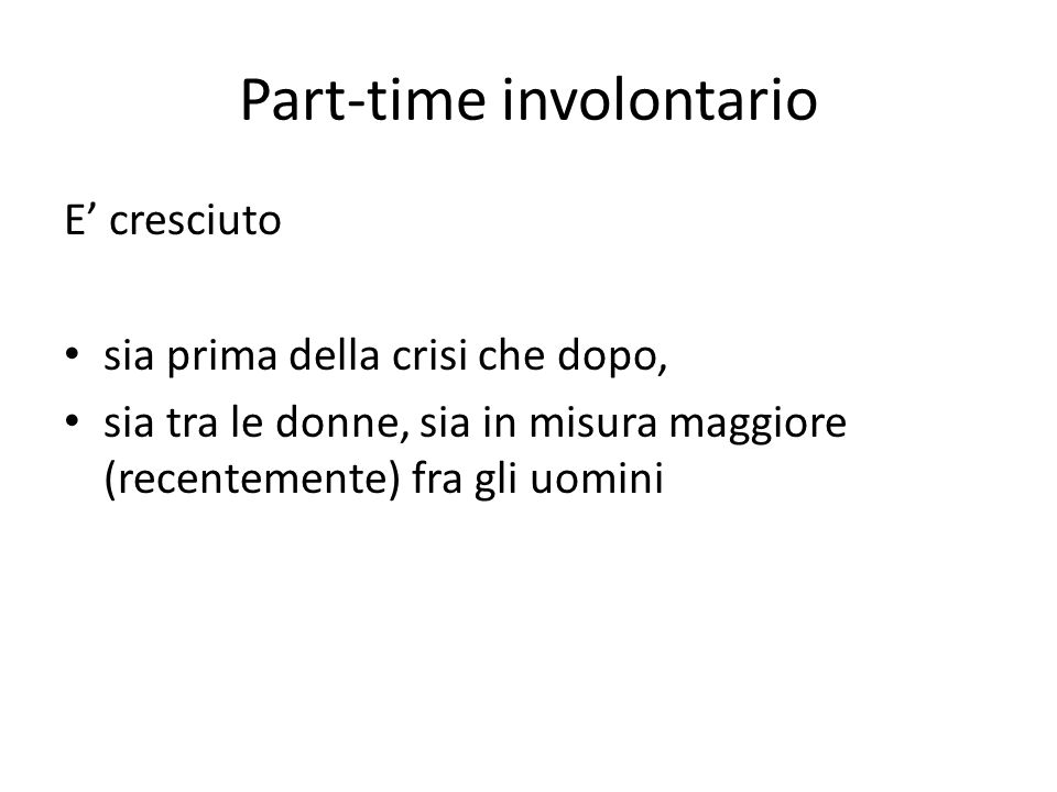 Part-time involontario