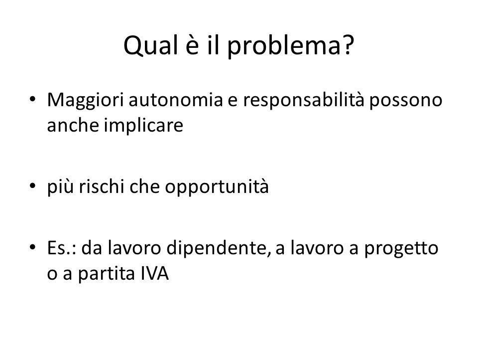 Qual è il problema Maggiori autonomia e responsabilità possono anche implicare. più rischi che opportunità.