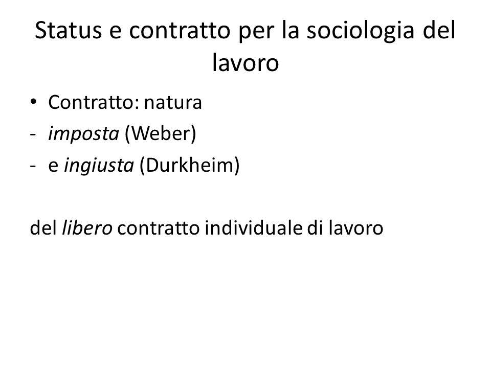 Status e contratto per la sociologia del lavoro