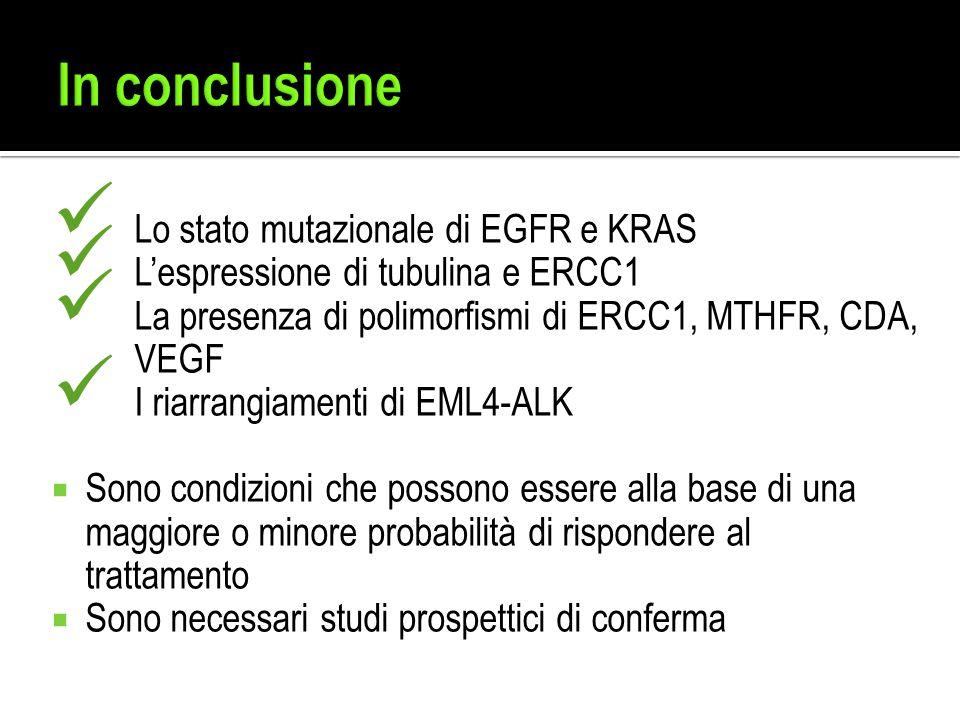 In conclusione Lo stato mutazionale di EGFR e KRAS