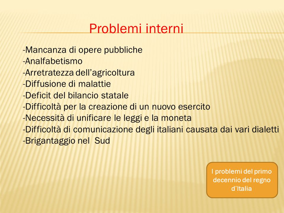 I problemi del primo decennio del regno d'Italia